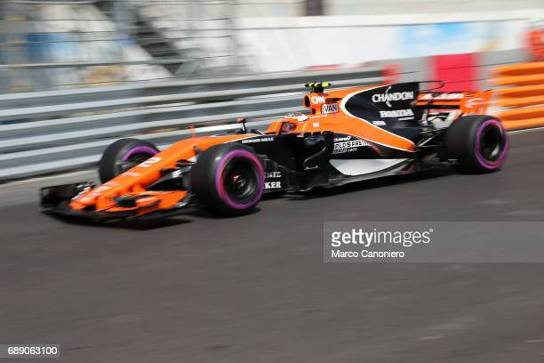 Stoffel Vandoorne of McLaren Honda on track during final practice for the Monaco Formula One Grand Prix