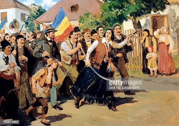 Stoica Ana Ipatescu guiding the revolutionary troops June 1848 Romania 19th century