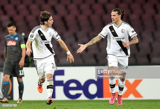 Stojan Vranjes and Aleksandar Prijovic of Legia Warszawa celebrate a goal 31 scored by Aleksandar Prijovic during the UEFA Europa League Group D...