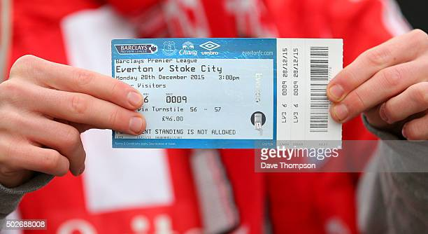 Stoke City fan with his £46 ticket prior to the Barclays Premier League match between Everton and Stoke City at Goodison Park on December 28 2015 in...
