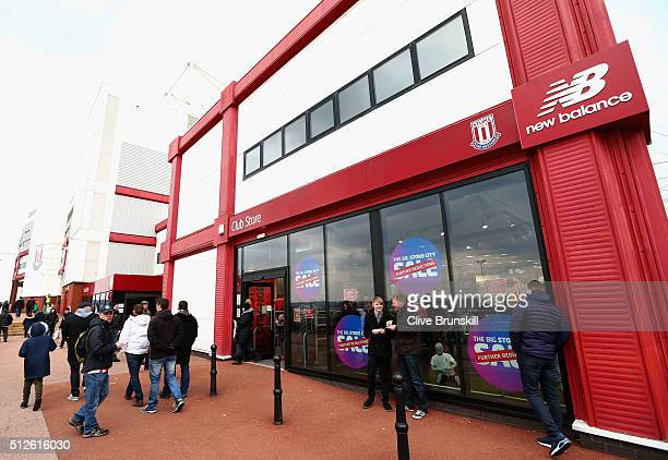 Stoke City fans arrive at the stadium prior to the Barclays Premier League match between Stoke City and Aston Villa at Britannia Stadium on February...