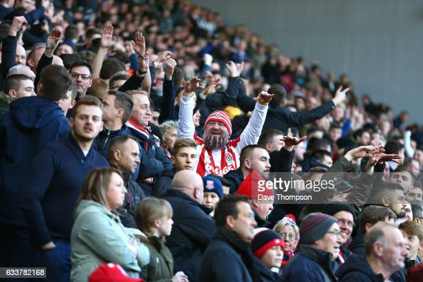 Stoke City fans celebrate after West Bromwich Albion have a goal disallowed during the Premier League match between West Bromwich Albion and Stoke...