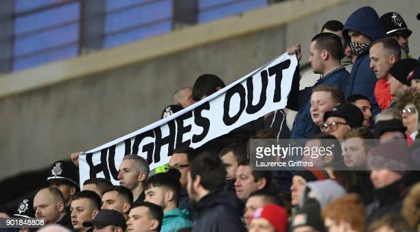 Stoke City fans protest against Mark Hughes Manager of Stoke City during The Emirates FA Cup Third Round match between Coventry City and Stoke City...