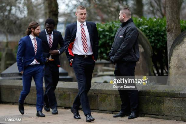 Stoke City football player Ryan Shawcross attends the funeral of 1966 World Cup and former Stoke City Goalkeeper Gordon Banks on March 04 2019 in...