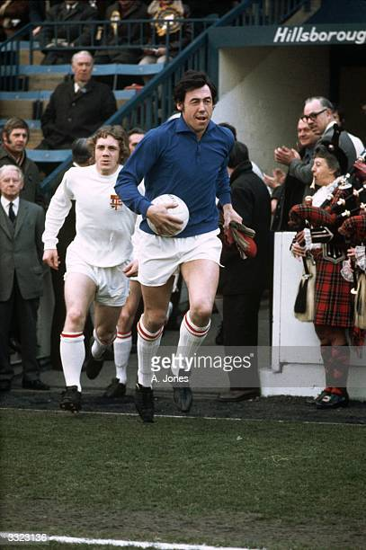 Stoke City goalkeeper Gordon Banks leads his team out onto the pitch for the FA Cup semifinal match against Arsenal at Sheffield's Hillsborough...