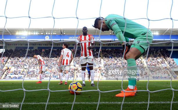 Stoke City goalkeeper Jack Butland appears dejected after scoring an own goal during the Premier League match at the King Power Stadium Leicester