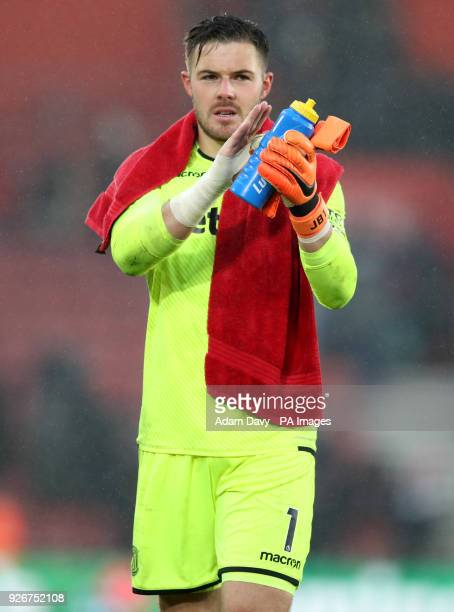 Stoke City goalkeeper Jack Butland applauds the fans at the end of the Premier League match at St Mary's Stadium Southampton