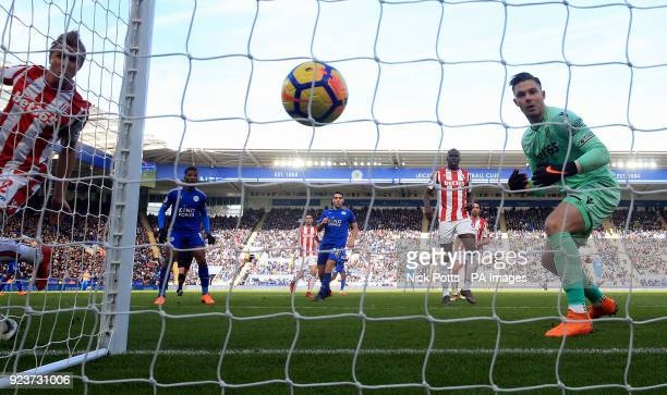 Stoke City goalkeeper Jack Butland scores an own goal during the Premier League match at the King Power Stadium Leicester