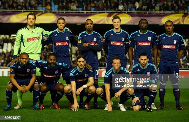 Stoke City line up prior to the UEFA Europa League Round of 32 second leg match between Valencia CF and Stoke City FC at Estadio Mestalla on February...