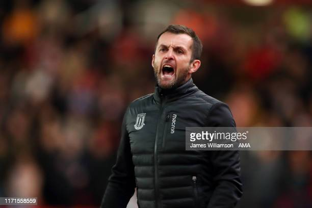 Stoke City manager head coach Nathan Jones during the Sky Bet Championship match between Stoke City and Nottingham Forest at Bet365 Stadium on...