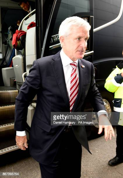 Stoke City manager Mark Hughes arrives for the Premier League match at Vicarage Road Watford