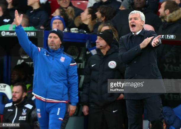 Stoke City manager Mark Hughes asking for hand ball during Premier League match between Crystal Palace and Stoke City at Selhurst Park Stadium London...