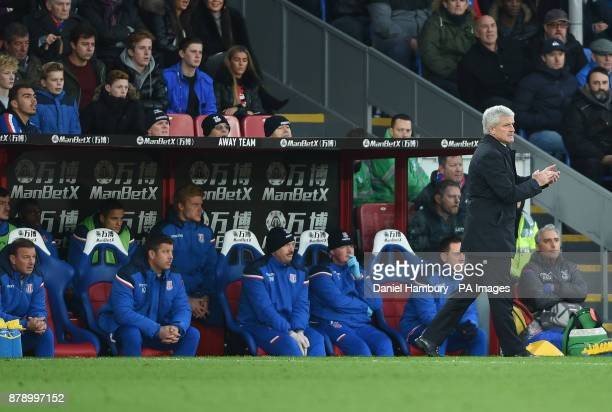Stoke City manager Mark Hughes during the Premier League match at the Selhurst Park London