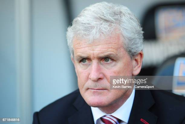 Stoke City manager Mark Hughes during the Premier League match between Swansea City and Stoke City at Liberty Stadium on April 22 2017 in Swansea...