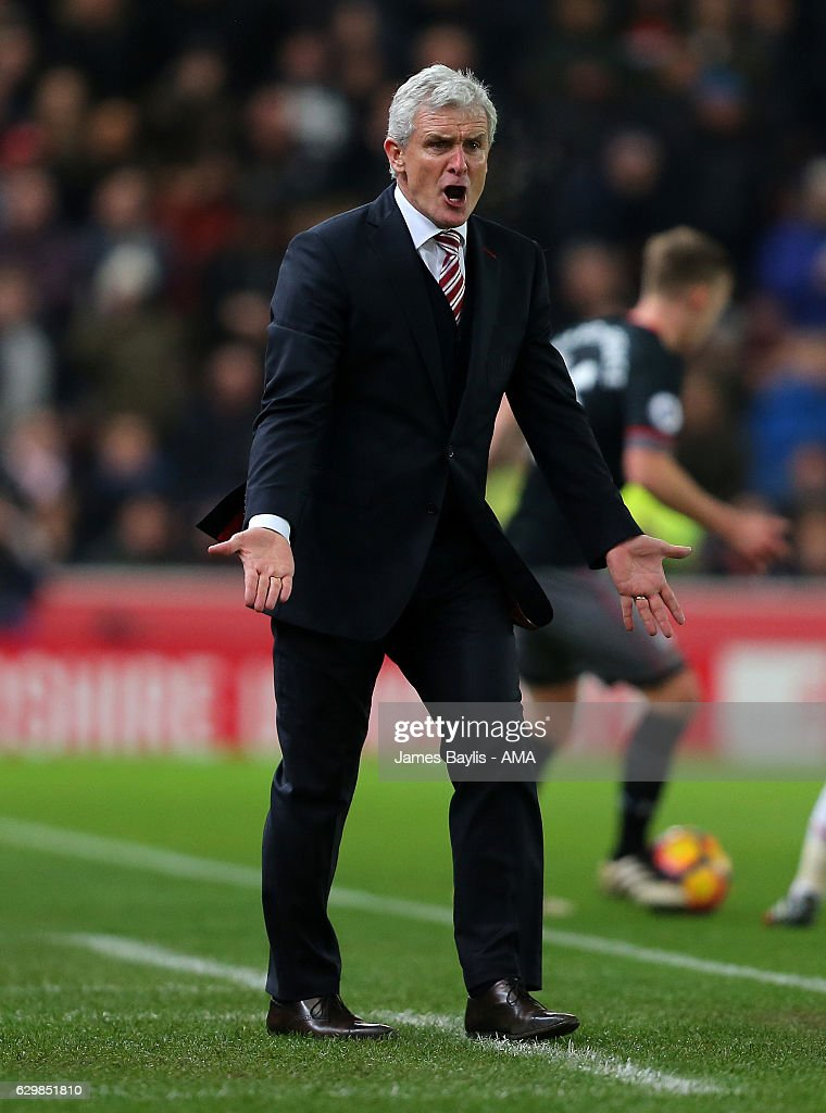 Stoke City Manager Mark Hughes reacts during the Premier League match between Stoke City and Southampton at Bet365 Stadium on December 14, 2016 in Stoke on Trent, England.
