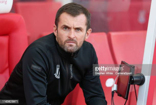 Stoke City manager Nathan Jones during the Sky Bet Championship match between Stoke City and Leeds United at Bet365 Stadium on August 24 2019 in...