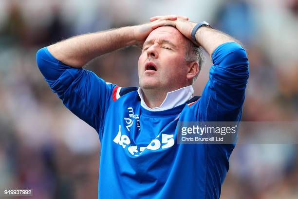 Stoke City manager Paul Lambert reacts during the Premier League match between Stoke City and Burnley at Bet365 Stadium on April 22 2018 in Stoke on...