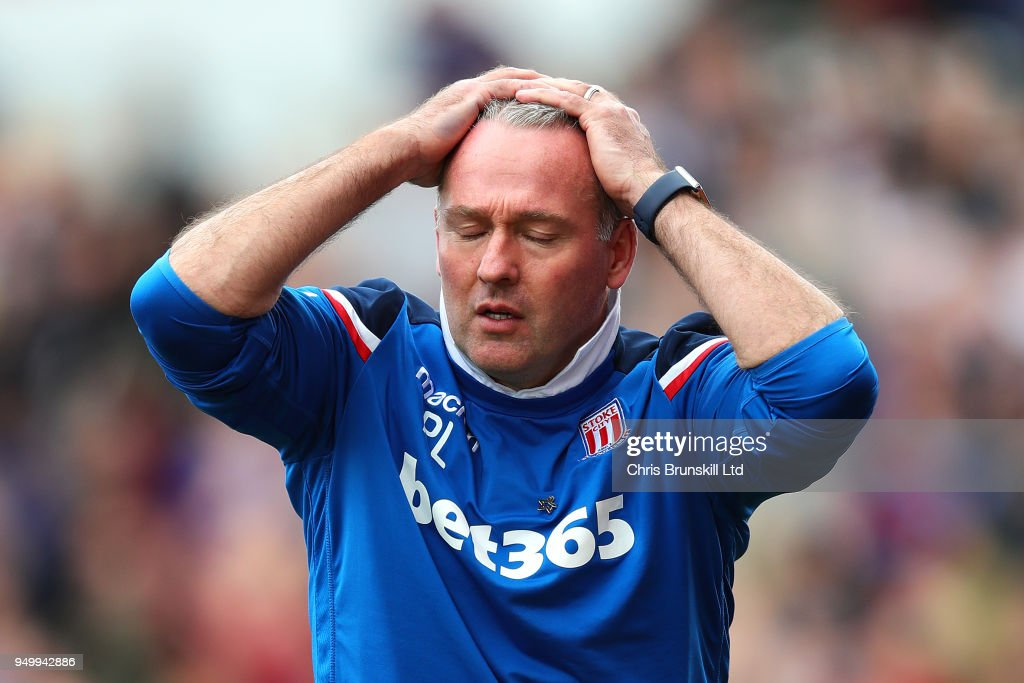 Stoke City manager Paul Lambert reacts during the Premier League match between Stoke City and Burnley at Bet365 Stadium on April 22, 2018 in Stoke on Trent, England.