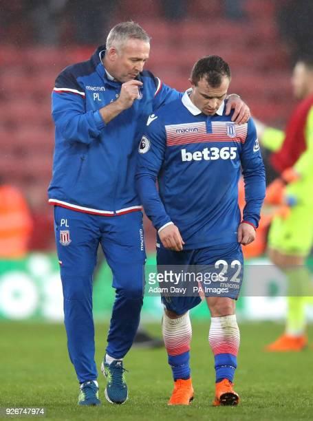 Stoke City manager Paul Lambert talks to Xherdan Shaqiri at the end of the Premier League match at St Mary's Stadium Southampton