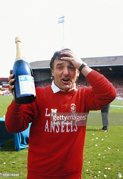 Stoke City mananger Lou Macari reacts as his side celebrate winning the 1992/93 League Division Two Championship at the Victoria Ground in 1993 in...