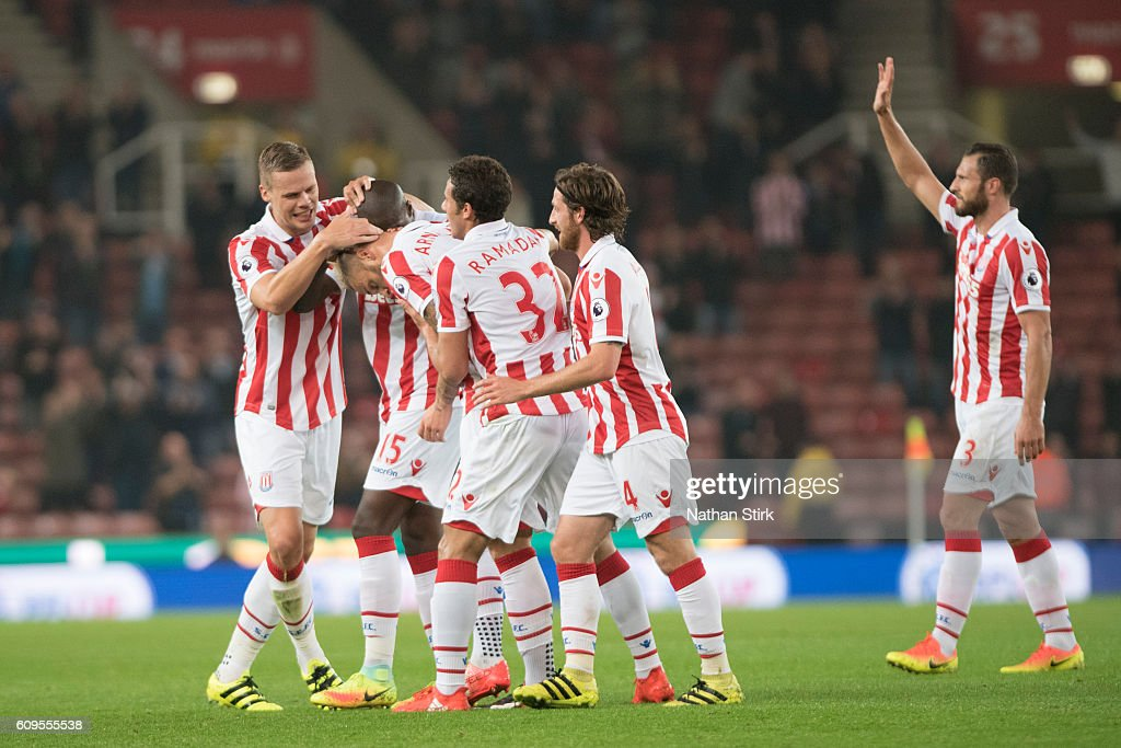 Stoke City players celebrate after Marko Arnautovic scores the opener during the EFL Cup Third Round match between Stoke City and Hull City at the Britannia Stadium on September 21, 2016 in Stoke on Trent, England.