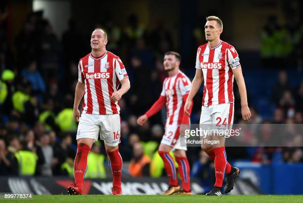 Stoke City players look dejected during the Premier League match between Chelsea and Stoke City at Stamford Bridge on December 30 2017 in London...