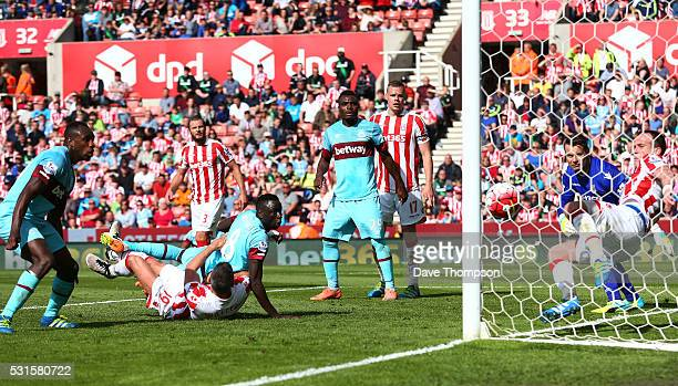 Stoke City playes clear the ball during the Barclays Premier League match between Stoke City and West Ham United at the Britannia Stadium on May 15...