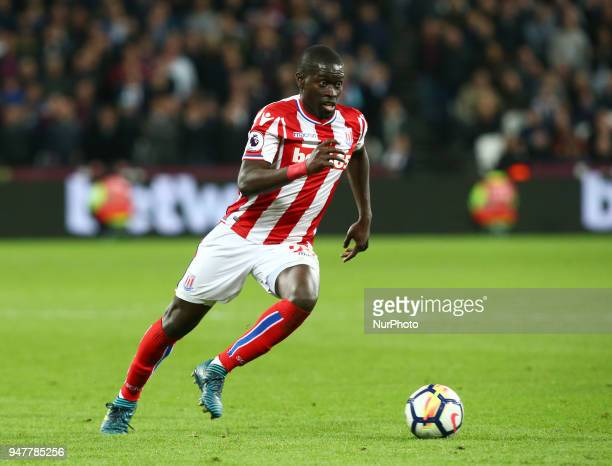 Stoke City's Badou Ndiaye during English Premier League match between West Ham United and Stoke City at London stadium London England on 16 April 2018