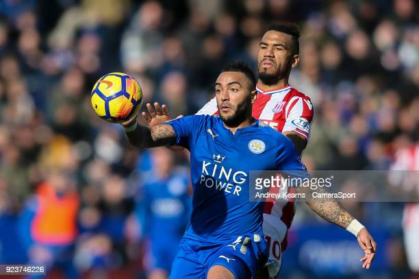 Stoke City's Eric Maxim ChoupoMoting competing with Leicester City's Danny Simpson during the Premier League match between Leicester City and Stoke...