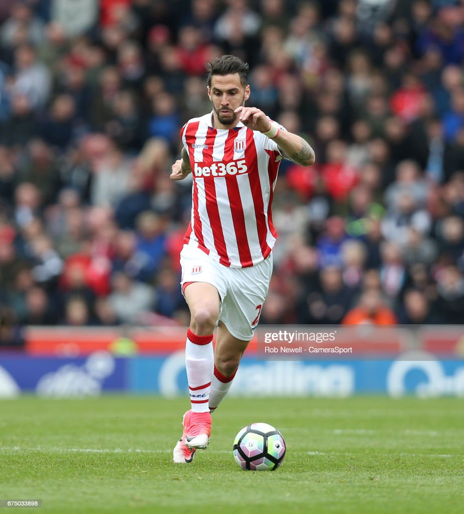 Stoke City's Geoff Cameron during the Premier League match between Stoke City and West Ham United at Bet365 Stadium on April 29, 2017 in Stoke on Trent, England.