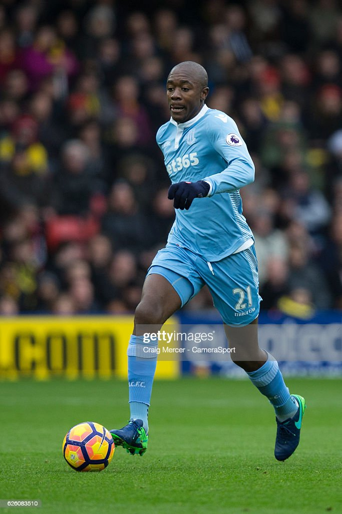 Stoke City's Gianelli Imbula in action during the Premier League match between Watford and Stoke City at Vicarage Road on November 27, 2016 in Watford, England.
