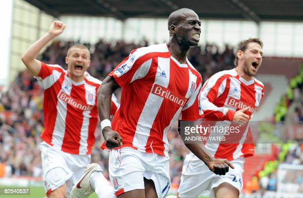 Stoke City's Mamady Sidibe celebrates after scoring the winning goal during the Premier league football match against Aston Villa at The Britannia...