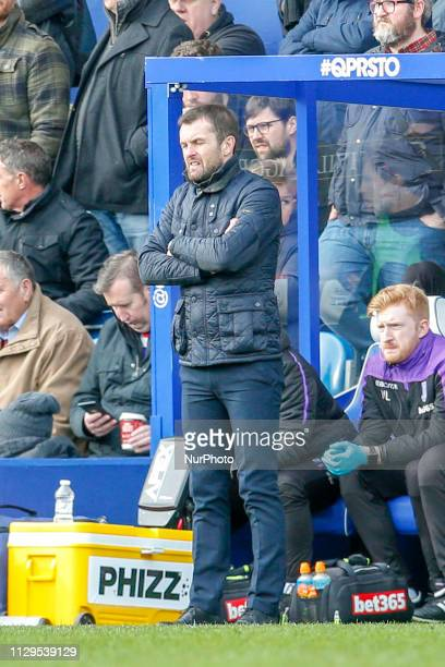 Stoke City's manager Nathan Jones during the first half of the Sky Bet Championship match between Queens Park Rangers and Stoke City at Loftus Road...