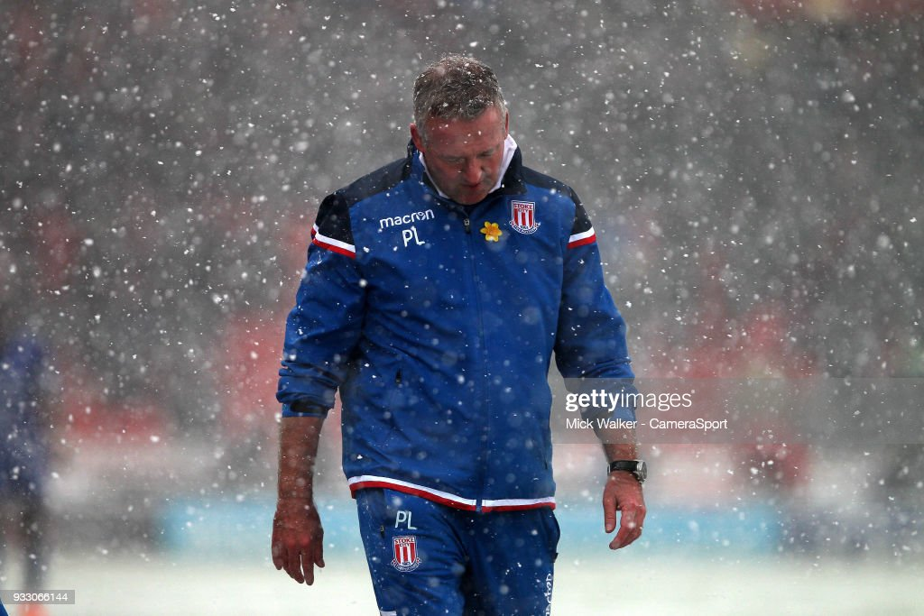 Stoke City's Manager Paul Lambert during the Premier League match between Stoke City and Everton at Bet365 Stadium on March 17, 2018 in Stoke on Trent, England.