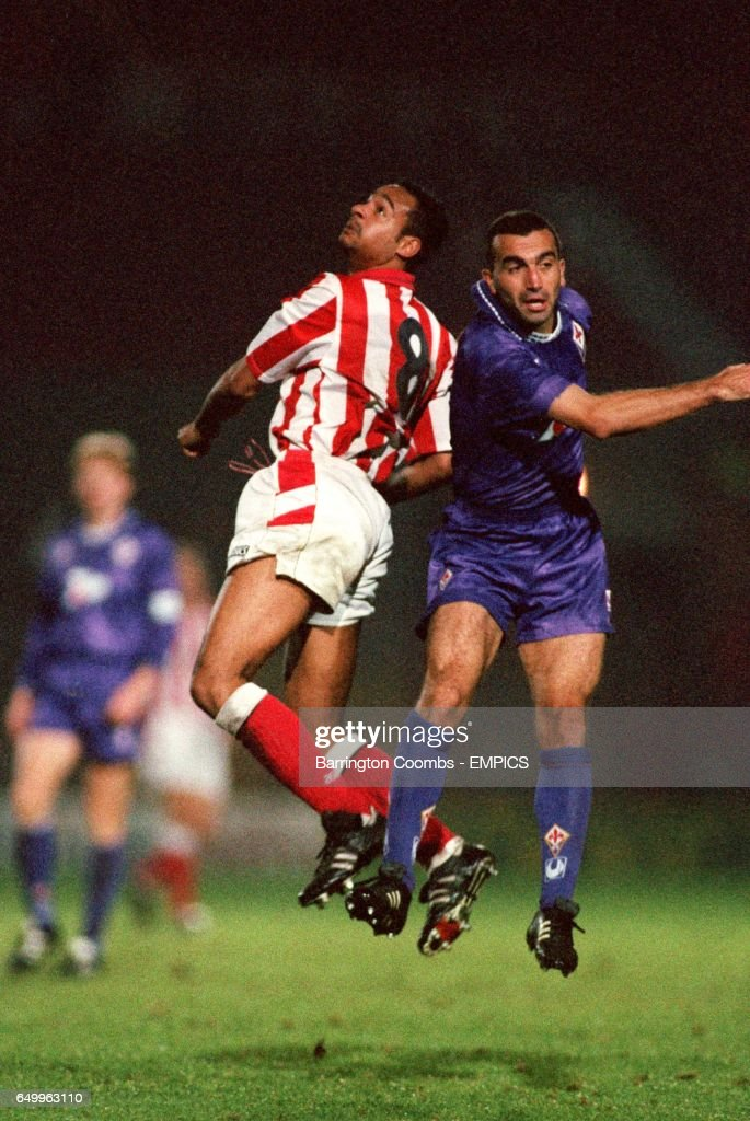 Stoke City S Martin Carruthers Battles For The Ball With