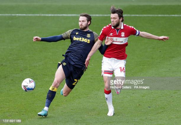 Stoke City's Nick Powell and Middlesbrough's Jonny Howson battle for the ball during the Sky Bet Championship match at Riverside Stadium,...
