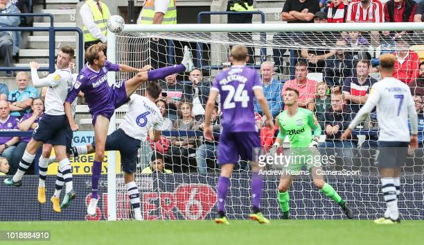Stoke City's Peter Crouch scoring his side's second goal during the Sky Bet Championship match between Preston North End and Stoke City at Deepdale...