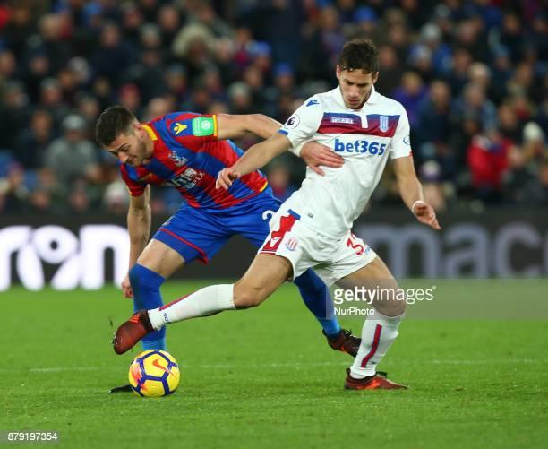 Stoke City's Ramadan Sobhi under pressure from Crystal Palace's Joel Ward during Premier League match between Crystal Palace and Stoke City at...