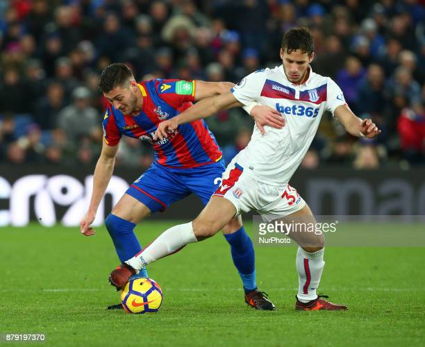 Stoke City's Ramadan Sobhi under pressure from Crystal Palace's Joel Ward during Premier League match between Crystal Palace and Stoke City at...