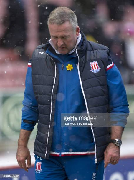 Stoke City's Scottish manager Paul Lambert gestures after the English Premier League football match between Stoke City and Everton at the Bet365...