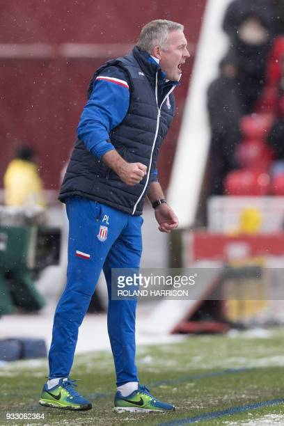 Stoke City's Scottish manager Paul Lambert gestures during the English Premier League football match between Stoke City and Everton at the Bet365...