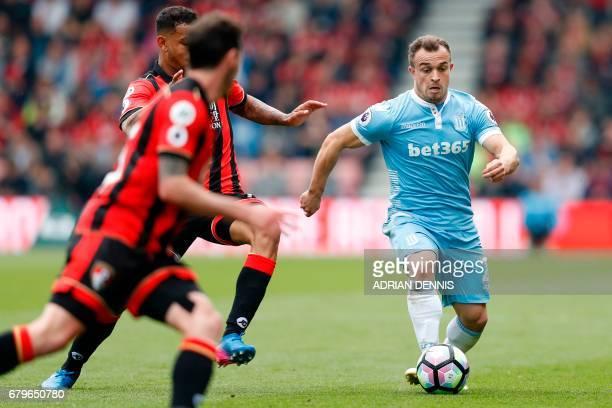 Stoke City's Swiss forward Xherdan Shaqiri controls the ball during the English Premier League football match between Bournemouth and Stoke City at...