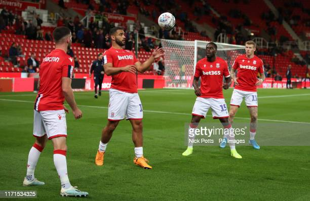 Stoke City's Thomas Edwards, Cameron Carter-Vickers, Bruno Martins Indi and James McClean warming up during the Sky Bet Championship match at the...
