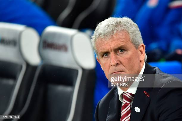 Stoke City's Welsh manager Mark Hughes is seen ahead for the English Premier League football match between Brighton and Hove Albion and Stoke City at...