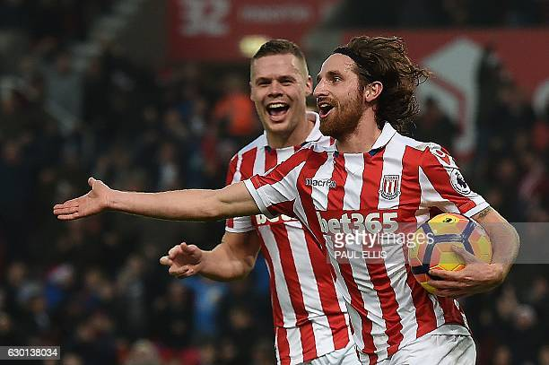 Stoke City's Welsh midfielder Joe Allen celebrates scoring his team's second goal during the English Premier League football match between Stoke City...