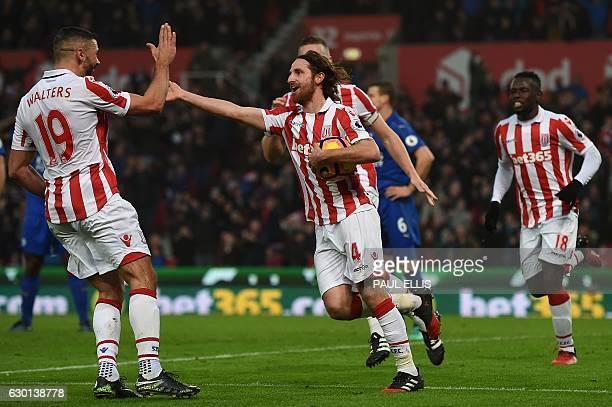 Stoke City's Welsh midfielder Joe Allen celebrates scoring his team's second goal during the English Premier League football match between Stoke City...