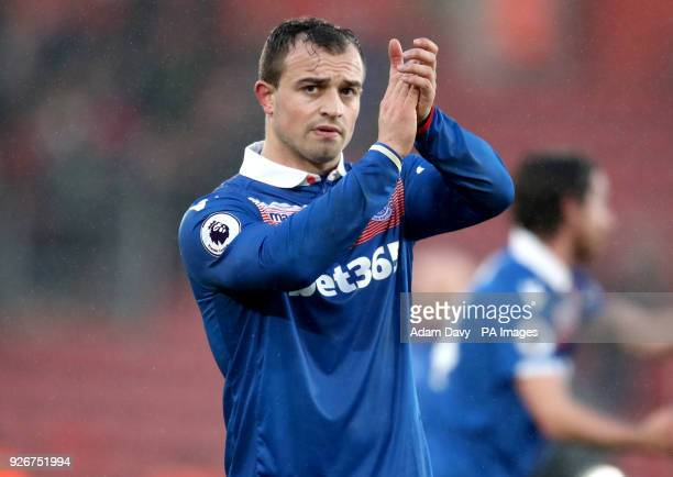 Stoke City's Xherdan Shaqiri applauds the fans at the end of the Premier League match at St Mary's Stadium Southampton