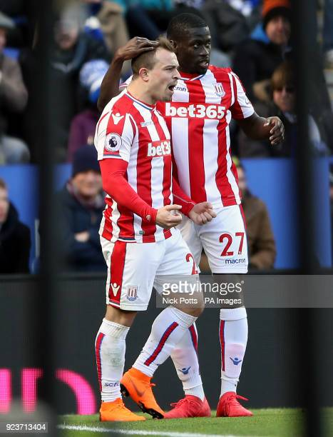 Stoke City's Xherdan Shaqiri celebrates scoring his side's first goal of the game with team mates during the Premier League match at the King Power...