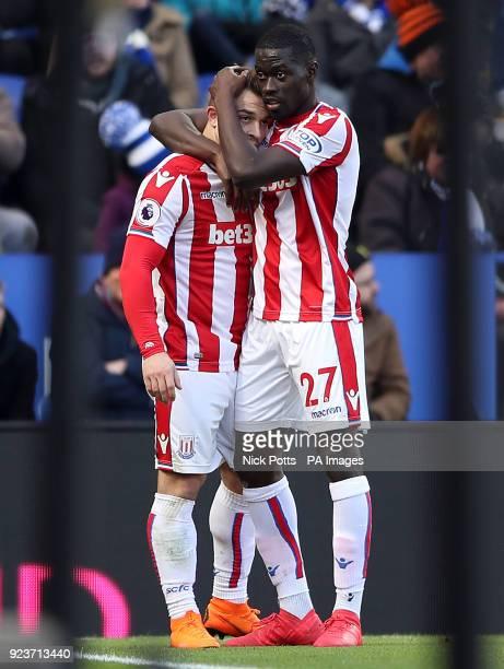 Stoke City's Xherdan Shaqiri celebrates scoring his side's first goal of the game with Papa Badou Ndiaye during the Premier League match at the King...