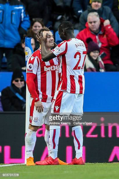 Stoke City's Xherdan Shaqiri celebrates with his team mate Papa Alioune Ndiaye after scoring his side's first goal during the Premier League match...